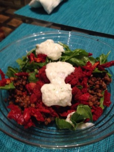 My first attempt to recreate Kohvik Komeet's beet, carrot, and chickpea patty, served over arugula, sun-dried tomatoes and lentils and topped with my homemade tzatziki. At least it looked pretty!