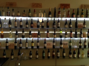 Wines - and a few spirits abound aat the wine bar a Le Boutique Hotel