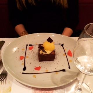 Chocolate and pampelmousse (grapefruit) accented mousse in Bordeaux. Of course, one must do chocolate when in France!