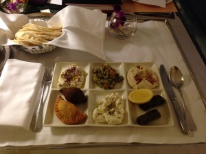 A traditional Arabic mezze platter  in Oman.