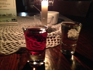 Cherry and bison grass  (Zubrowka) vodkas